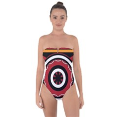 Toraja Pattern Pa barre Allo Tie Back One Piece Swimsuit