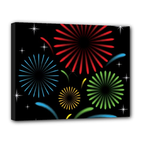 Fireworks With Star Vector Canvas 14  X 11