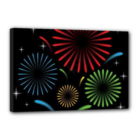 Fireworks With Star Vector Canvas 18  X 12