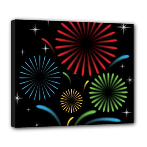 Fireworks With Star Vector Deluxe Canvas 24  X 20
