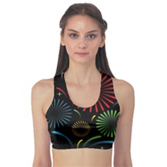 Fireworks With Star Vector Sports Bra