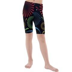 Fireworks With Star Vector Kids  Mid Length Swim Shorts