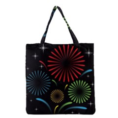 Fireworks With Star Vector Grocery Tote Bag
