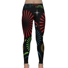 Fireworks With Star Vector Classic Yoga Leggings