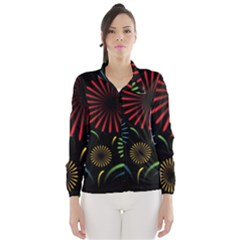 Fireworks With Star Vector Wind Breaker (women)