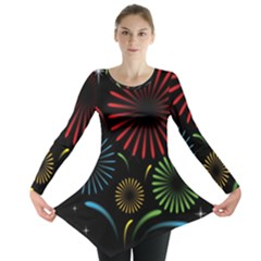 Fireworks With Star Vector Long Sleeve Tunic