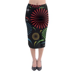 Fireworks With Star Vector Midi Pencil Skirt