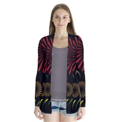 Fireworks With Star Vector Drape Collar Cardigan