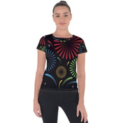 Fireworks With Star Vector Short Sleeve Sports Top