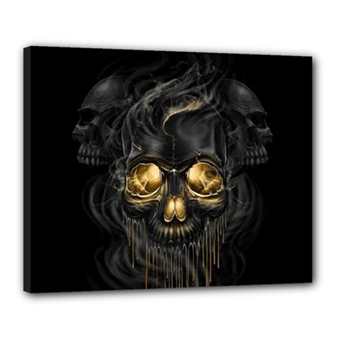 Art Fiction Black Skeletons Skull Smoke Canvas 20  X 16