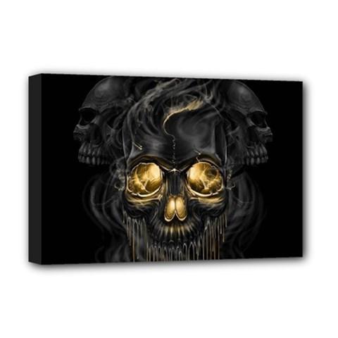 Art Fiction Black Skeletons Skull Smoke Deluxe Canvas 18  X 12