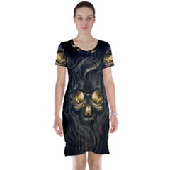 Art Fiction Black Skeletons Skull Smoke Short Sleeve Nightdress