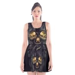 Art Fiction Black Skeletons Skull Smoke Scoop Neck Skater Dress