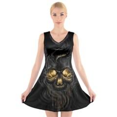Art Fiction Black Skeletons Skull Smoke V Neck Sleeveless Skater Dress