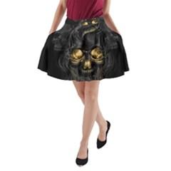 Art Fiction Black Skeletons Skull Smoke A Line Pocket Skirt