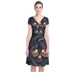 Art Fiction Black Skeletons Skull Smoke Short Sleeve Front Wrap Dress