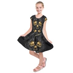 Art Fiction Black Skeletons Skull Smoke Kids  Short Sleeve Dress