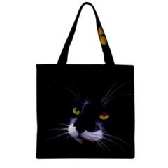 Face Black Cat Zipper Grocery Tote Bag