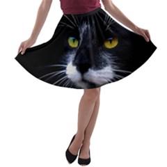 Face Black Cat A Line Skater Skirt