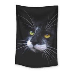 Face Black Cat Small Tapestry