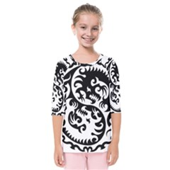 Ying Yang Tattoo Kids  Quarter Sleeve Raglan Tee