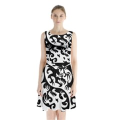Ying Yang Tattoo Sleeveless Waist Tie Chiffon Dress