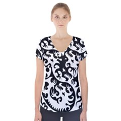 Ying Yang Tattoo Short Sleeve Front Detail Top