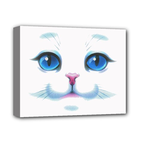 Cute White Cat Blue Eyes Face Deluxe Canvas 14  X 11