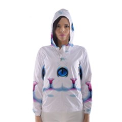 Cute White Cat Blue Eyes Face Hooded Wind Breaker (women)