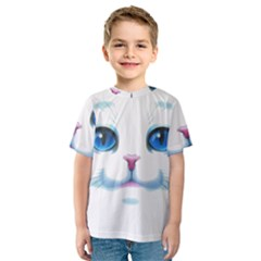 Cute White Cat Blue Eyes Face Kids  Sport Mesh Tee