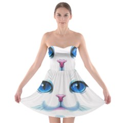 Cute White Cat Blue Eyes Face Strapless Bra Top Dress
