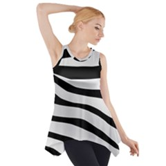 White Tiger Skin Side Drop Tank Tunic