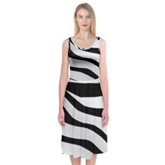 White Tiger Skin Midi Sleeveless Dress