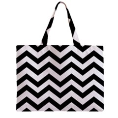 Black And White Chevron Zipper Mini Tote Bag
