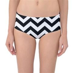 Black And White Chevron Mid Waist Bikini Bottoms