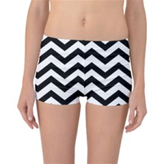 Black And White Chevron Reversible Boyleg Bikini Bottoms
