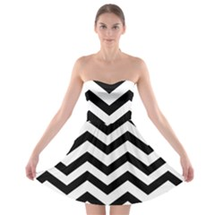 Black And White Chevron Strapless Bra Top Dress