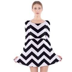 Black And White Chevron Long Sleeve Velvet Skater Dress