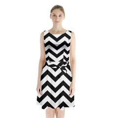 Black And White Chevron Sleeveless Waist Tie Chiffon Dress