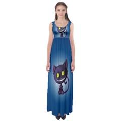 Funny Cute Cat Empire Waist Maxi Dress