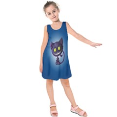 Funny Cute Cat Kids  Sleeveless Dress