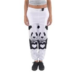 Panda Love Heart Women s Jogger Sweatpants