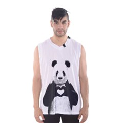 Panda Love Heart Men s Basketball Tank Top