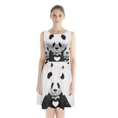 Panda Love Heart Sleeveless Waist Tie Chiffon Dress