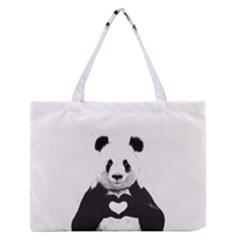 Panda Love Heart Medium Zipper Tote Bag