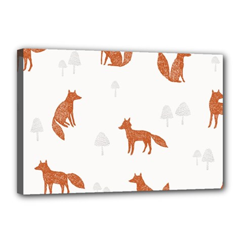 Fox Animal Wild Pattern Canvas 18  X 12