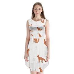 Fox Animal Wild Pattern Sleeveless Chiffon Dress