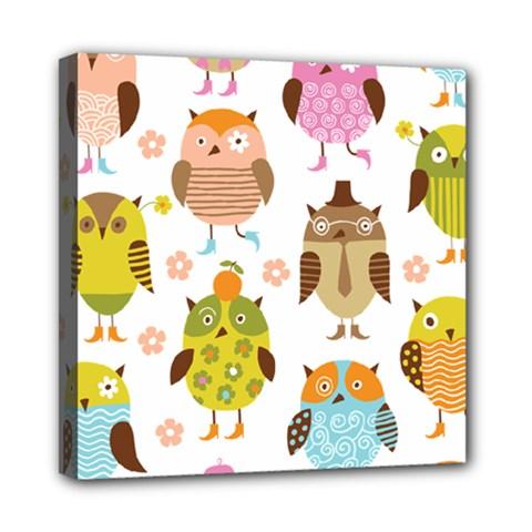 Cute Owls Pattern Mini Canvas 8  X 8