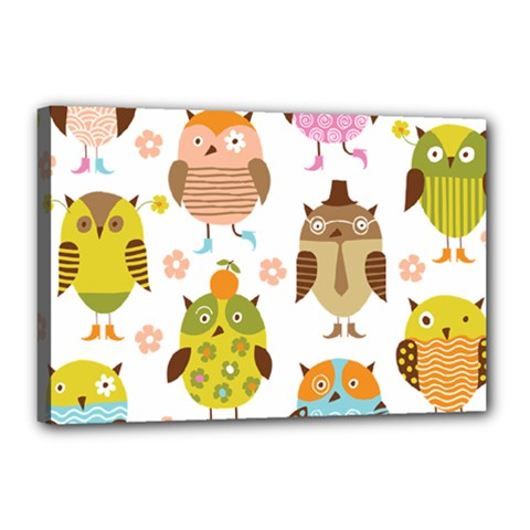Cute Owls Pattern Canvas 18  X 12