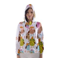 Cute Owls Pattern Hooded Wind Breaker (women)